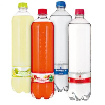 Sourcy water en fruit literflessen