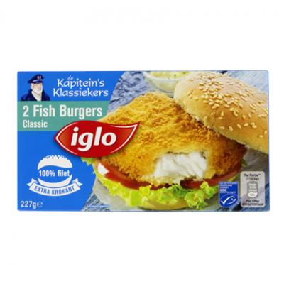 Iglo crispino's, Vissticks of Fish burgers