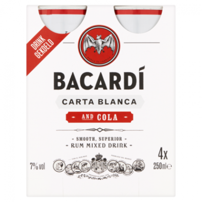 Bacardi & cola 4 pack
