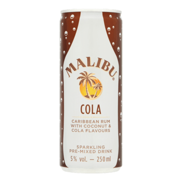 Malibu Cola Caribbean Rum with Coconut & Cola Flavours 250ml