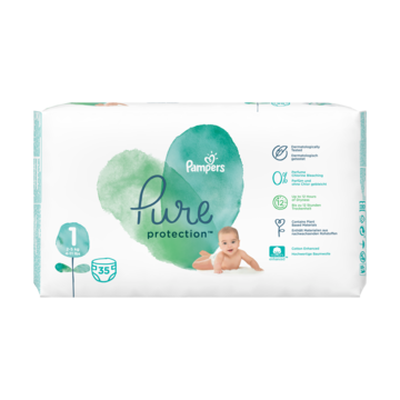 Pampers Pure Protection Maat 1, 35 Luiers, 2-5kg